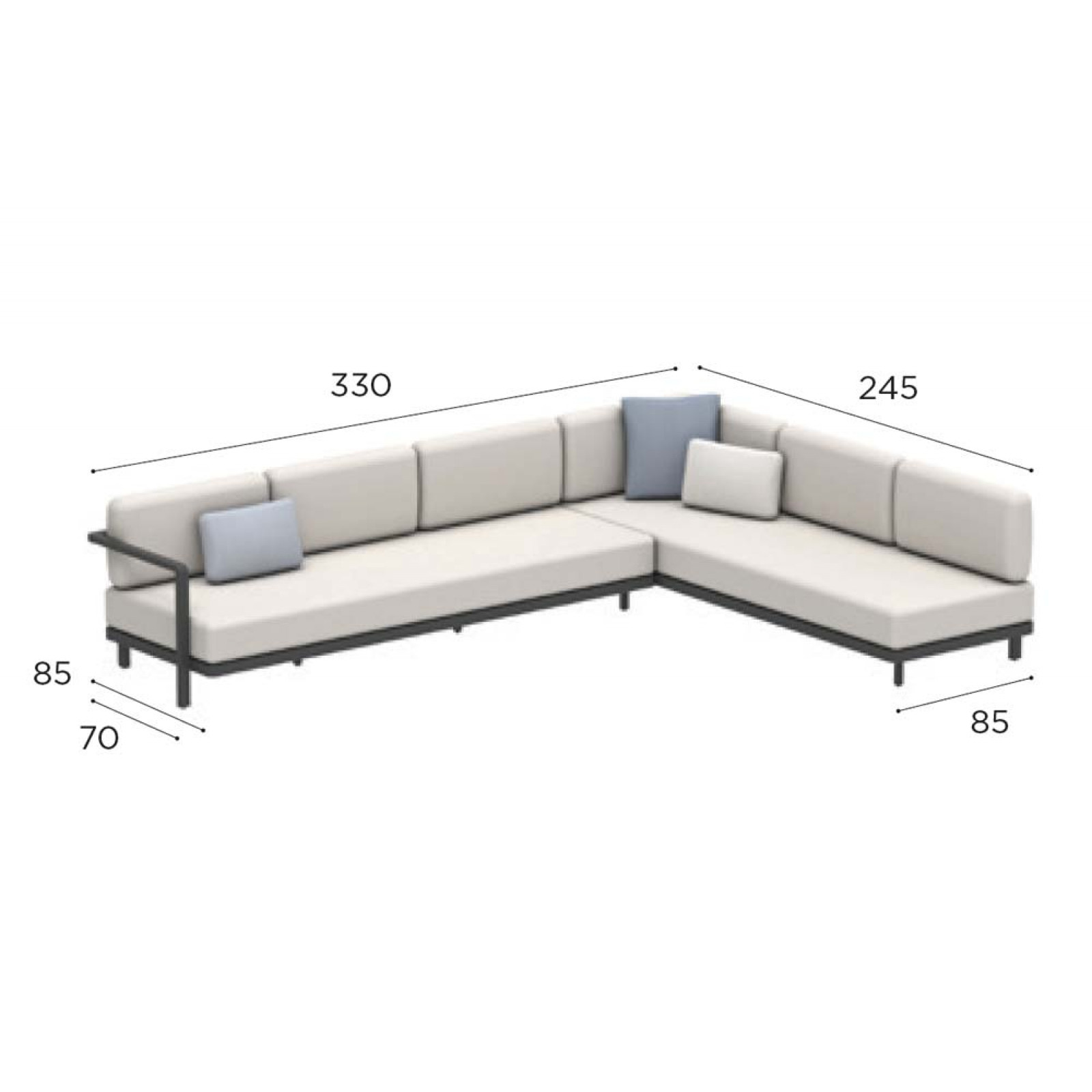 Royal Botania Red Label • Alura Lounge Ecksofa 09 mit Ablagefläche • 330 × 245 cm links