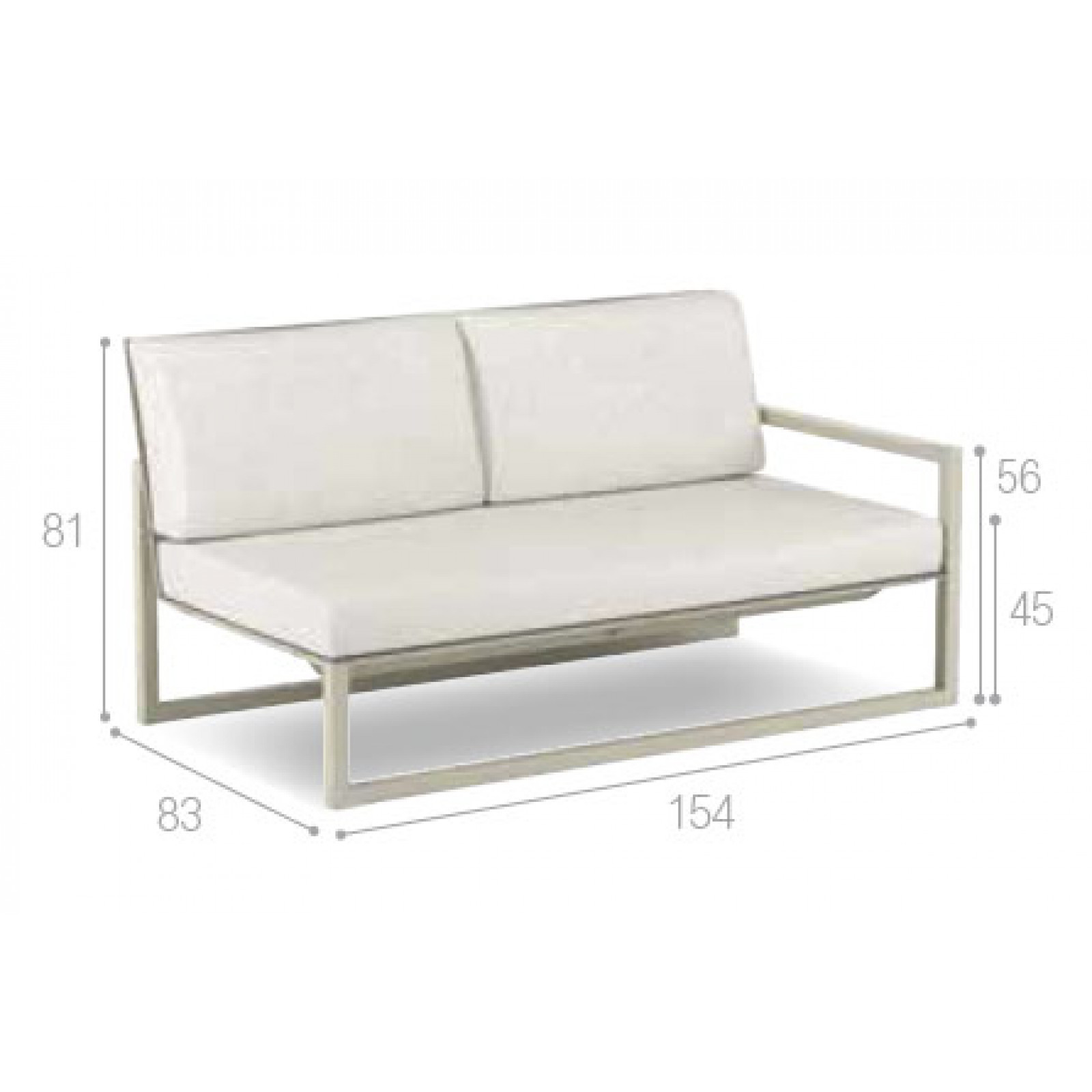 Royal Botania Ninix Lounge Modul 154 cm rechts oder links